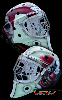 Custom Airbrush Hockey Mask for Alex Birch of the Hallamshire Hornets