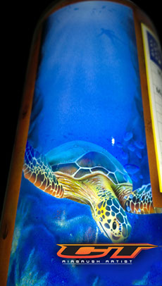 Close up of the airbrushed turtle on the Scuba Tank